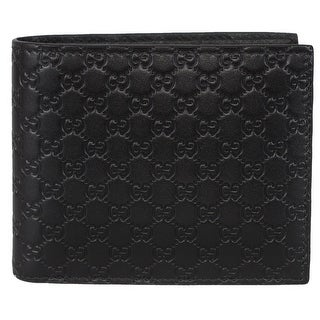 Gucci Men's 260987 Black Leather MICRO GG Guccissima Bifold Wallet