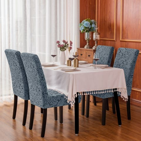 Subrtex Set-of-2 Stretch Dining Chair Cover Jacquard Damask Slipcovers