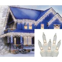 Set of 100 Clear Everglow Mini Icicle Christmas Lights - White Wire