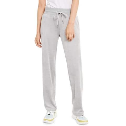 Calvin Klein Women's Velour Wide-Leg Pants Grey Size Small