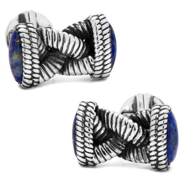 Sterling Braided Lapis Rope Cufflinks