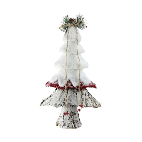 "18"" White, Red and Brown Rustic Style Christmas Tree Decoration"