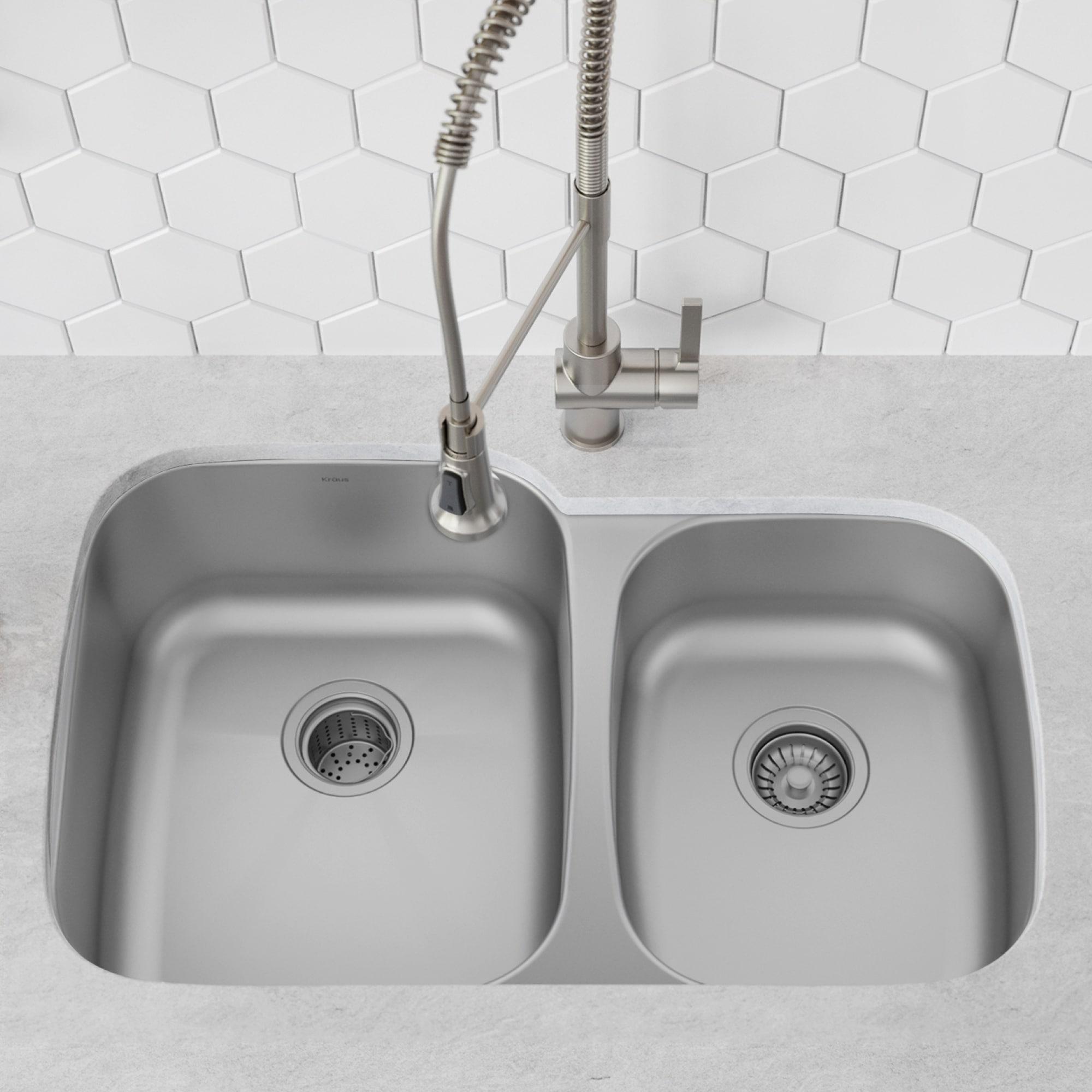 Picture of: Shop Black Friday Deals On Kraus Premier Stainless Steel 35 Inch 2 Bowl Undermount Kitchen Sink Overstock 6472926