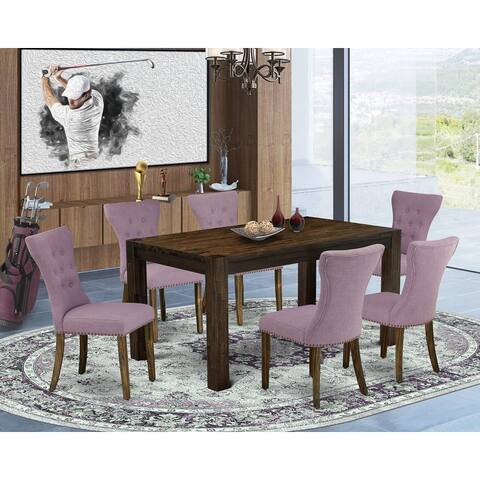 Kitchen Set - Dining Table and 4 Upholstered Dining Chairs with Button Tufted Back (Number of Chairs/Color Option)