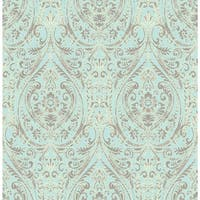 Brewster 1014-001866 Gypsy Turquoise Damask Wallpaper - N/A