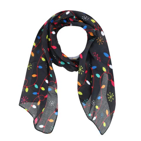 CTM® Women's Holiday Christmas Lights Print Lightweight Scarf - one size
