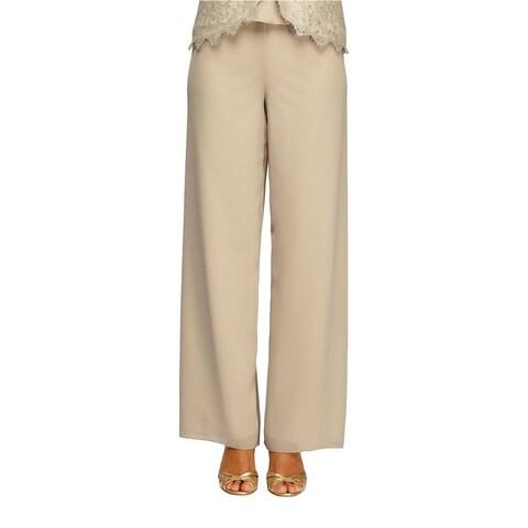 Alex Evenings Beige Womens Small S Georgette Wide Leg Dress Pants
