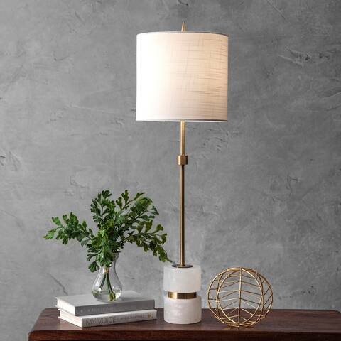 """nuLOOM 31"""" Marble Mounted Pole Linen Shade Table Lamp"""