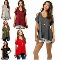 Women Casual Off the Shoulder Short Sleeve Loose Jersey Tunic Top - Thumbnail 3