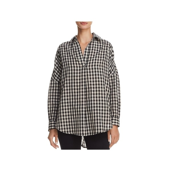 570df540 Shop French Connection Womens Button-Down Top Pleated Gingham - Free ...