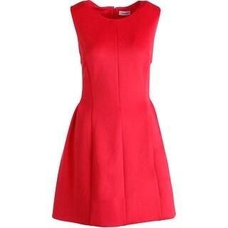 Calvin Klein Womens Sleeveless Pleated Wear to Work Dress