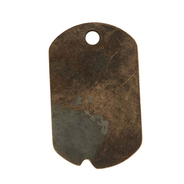 Vintaj Natural Brass Dog Tag Pendant 32mm x 19mm (1)