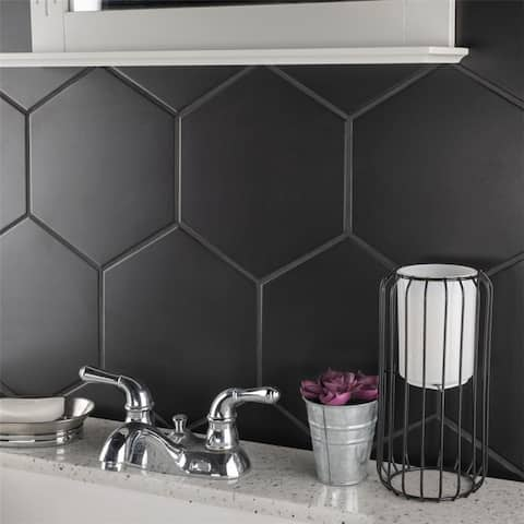 SomerTile 8.625x9.875-inch Textilis Black Hex Porcelain Floor and Wall Tile (25 tiles/11.56 sqft.)