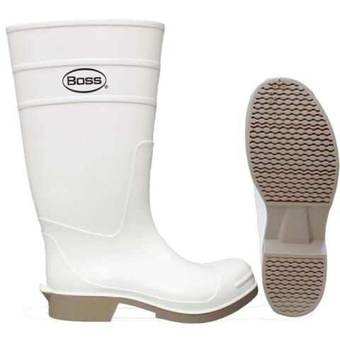 """Boss 2PP392410 PVC Over-The-Sock Knee Boot, White, 16"""", Size 10"""