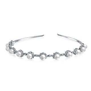 Bling Jewelry Imitation Pearl Flower Crystal Tiara Headband Silver Plated
