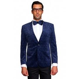 MZV-403 INDIGO Men's Manzini Fancy Paisley design Velvet, sport coat