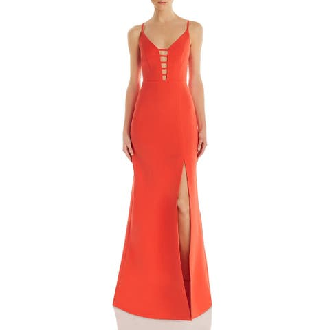 BCBG Max Azria Women's Caged Cut-Out Full Length Sleeveless Gown - Poinsettia