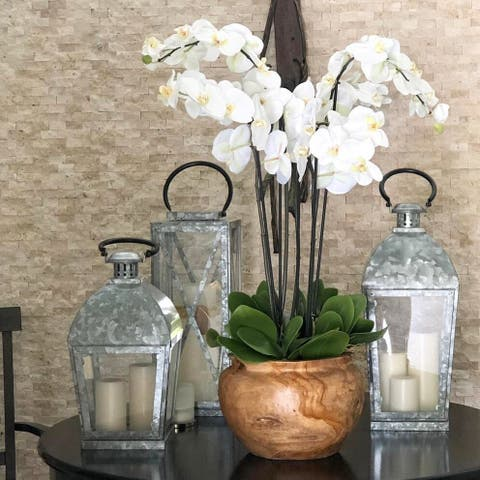 Teak Bowl with White Orchids - 13Wx13Lx24H