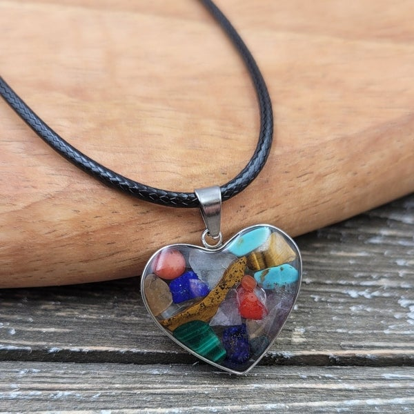 Rainbow Gemstone captured in Resin Heart Pendant Necklace. Opens flyout.