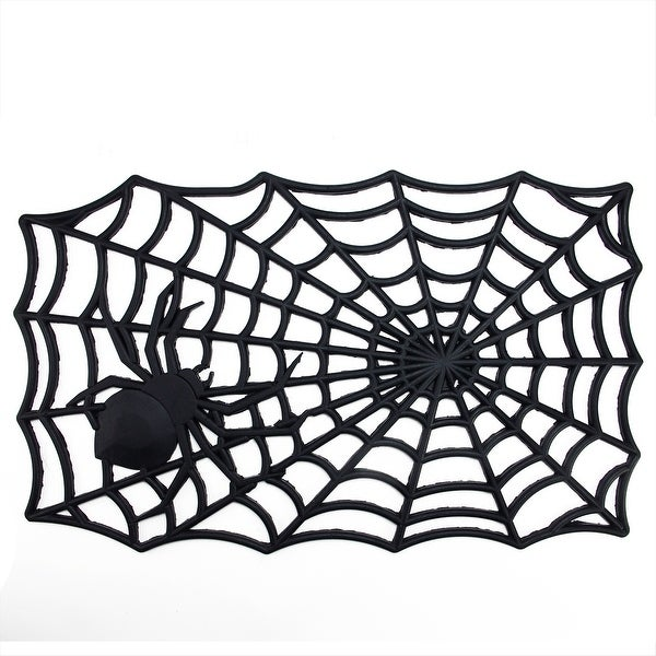"Decorative Black Spider Web Outdoor Rubber Halloween Door Mat 29"" x 17.75"""