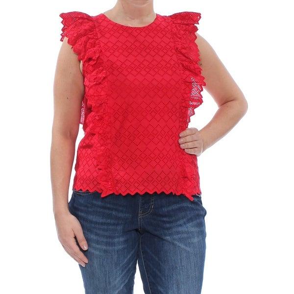 RALPH LAUREN Womens Red Eyelet Ruffled Jewel Neck Top Size L. Opens flyout.