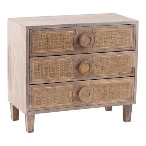 Aurelle Home Modern Solid Mango Wood and Woven Dresser