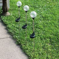 Sunnydaze Set of 3 Cracked Glass Ball with Multi Color LED Stake Solar Light