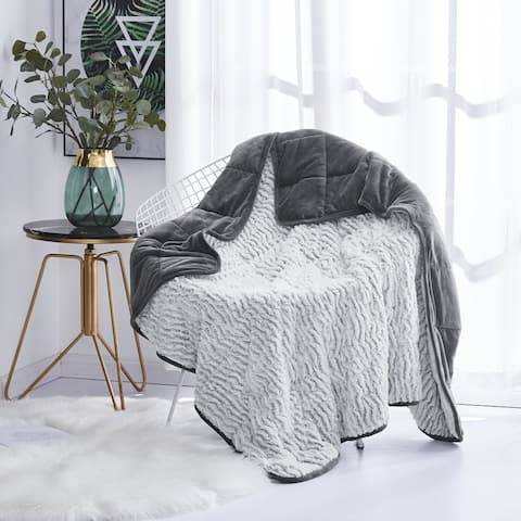 Faux Fur Weighted Throw Blanket 10 lb 12 lb 15 lb