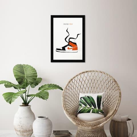 Wynwood Studio 'Sneaker Head Drawing I' Fashion and Glam White Wall Art Framed Print