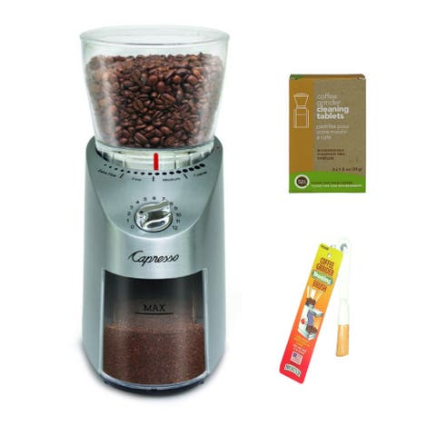 Capresso 575.05 Infinity Plus Conical Burr Grinder Bundle