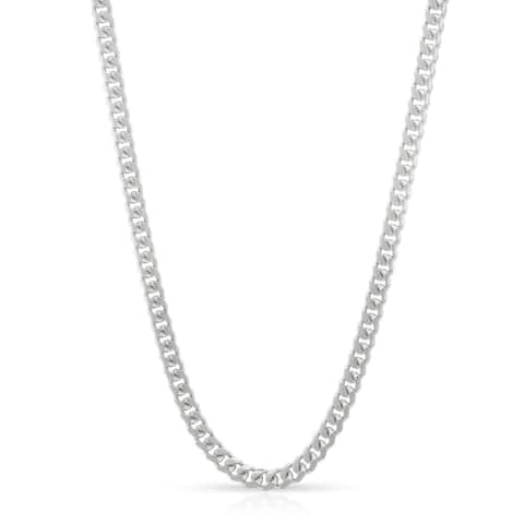 .925 Solid Sterling Silver 2.5MM Miami Cuban Curb Link Rhodium Necklace Chain, Silver Chain for Men & Women, Made In Italy