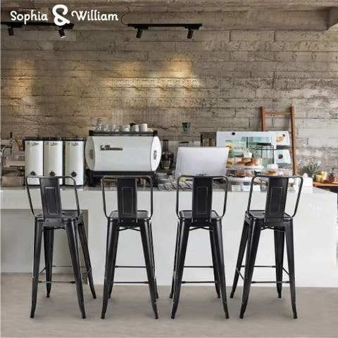 """Sophia & William Metal Bar Stool 30"""" Bar Height Industrial Bar Chair Set of 4 with Middle Back Support 330lbs"""