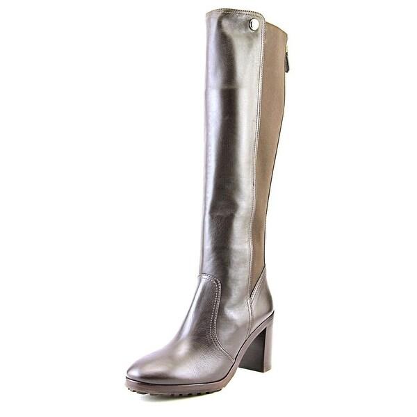 Tory Burch Sullivan 85MM Women Round Toe Leather Brown Knee High Boot