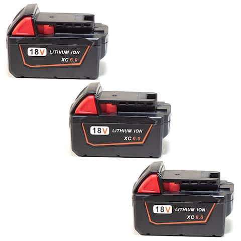 Replacement 6000mAh Battery for Milwaukee 2708-22 / 2743-20 / 2796-26 Power Tools (3 Pk)