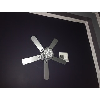 Deidor 5-blade 52-inch Chrome Ceiling Fan with 3-Light Crystal Chandelier (Remote Controlled)