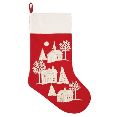 Peaceful Village Church House and Barn Red Christmas Holiday Stocking