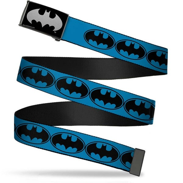 Batman Reverse Brushed Silver Cam Bat Signal 3 Blue Black Blue Webbing Web Belt