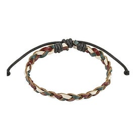 Plum, Olive, Beige Braided Leather Bracelet with Drawstrings (7 mm) - 7.5 in