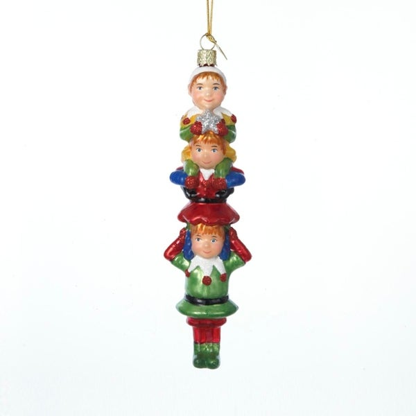 "5.5"" Noble Gems Glass Stacked Santa's Elves Christmas Ornament - RED"