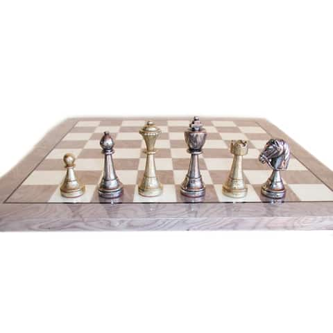 Staunton Metal Chess Set With Grey and Ivory Wood Veneer Board - Multicolored