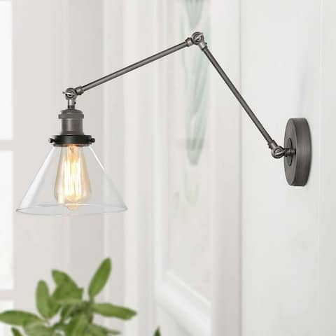 Merida Plug-in Adjustable Wall Lamp Sconce with Clear Glass by Havenside Home