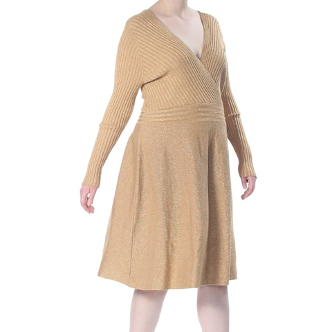 INC Womens Gold Metallic Surplice Sweater Long Sleeve V Neck Knee Length Fit + Flare Party Dress Plus Size: 2XL