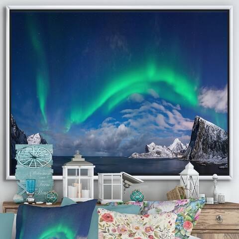 Designart 'Aurora Borealis Above FLaget Bay' Traditional Framed Canvas Wall Art Print