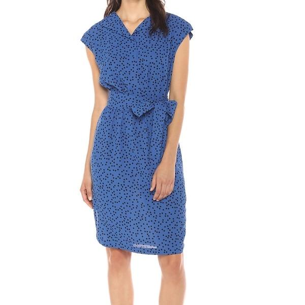 6826b59b639 Shop Anne Klein Blue Womens Size Small S Dot-Print Belted Shirt ...