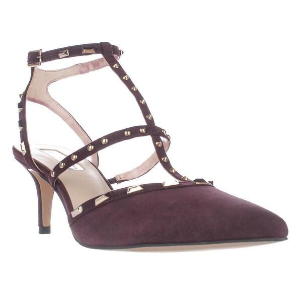 3e4c5de19c Shop I35 Carma Studded T-Strap Pointed Toe Heels, Dark Plum - Free ...