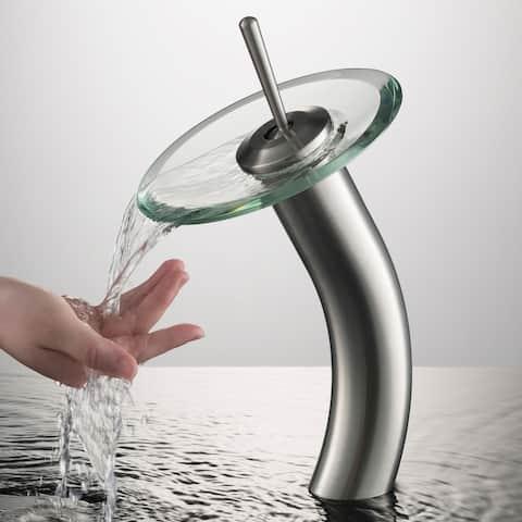 KRAUS Waterfall Vessel Bathroom Faucet Satin Nickel