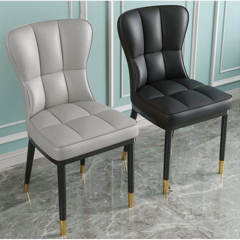 Parsons Faux Leather Upholstered Side Chair (Set of 4) Checked Pattern