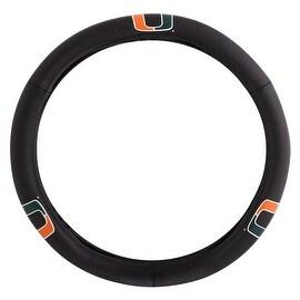 Pilot Automotive Black Leather University of Miami Hurricanes Car Auto Steering Wheel Cover