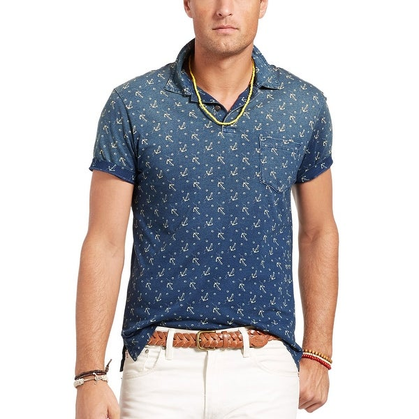 Polo Ralph Lauren Big and Tall Lightweight Anchor Polo Shirt Indigo Blue 2XB