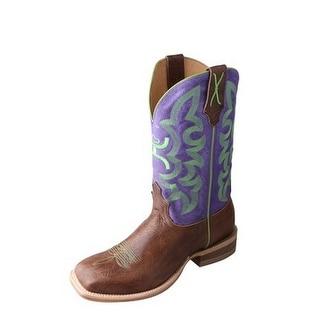 HOOey Western Boots Girls Boys Square Logo Brown Purple YHY0004